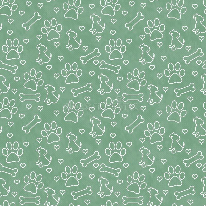绿色和白色小狗瓦片样式重复背景 免版税库存图片