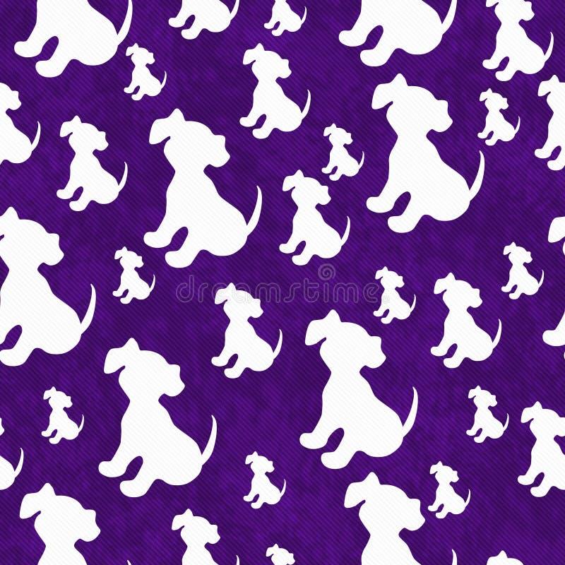 紫色和白色小狗瓦片样式重复背景 库存例证