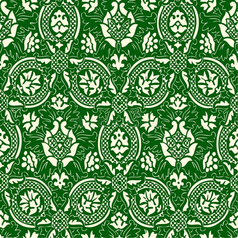 绿色和白色无缝的抽象花卉样式葡萄酒背景 皇族释放例证
