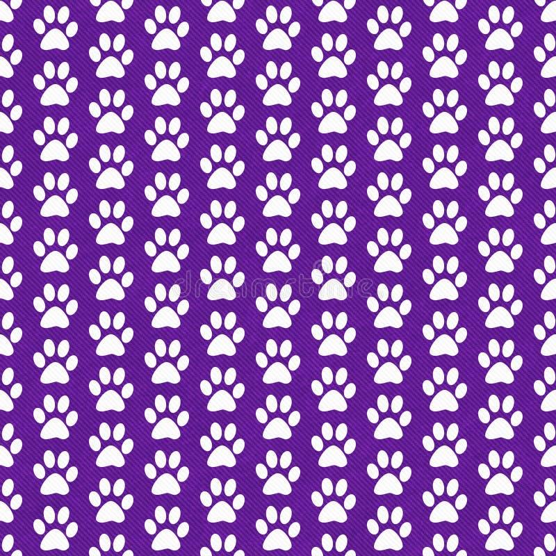 紫色和白色狗爪子印刷品瓦片样式重复背景 库存例证