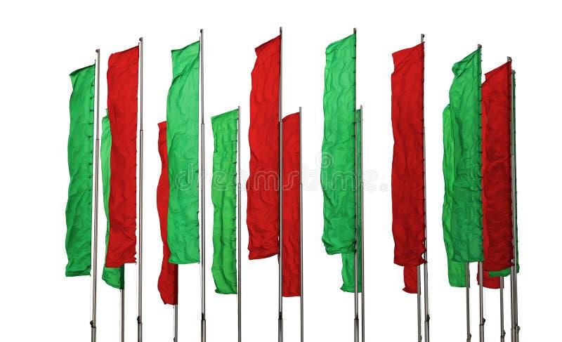 绿色和红旗 库存照片