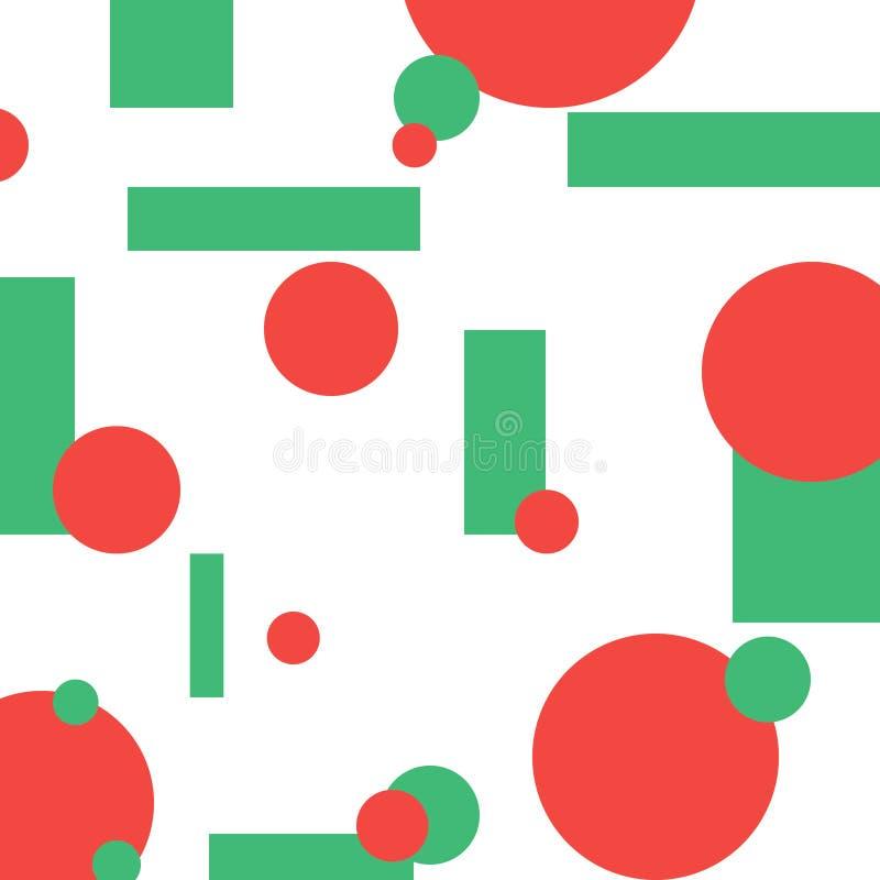 绿色和红色抽象几何圈子和长方形, 免版税库存图片
