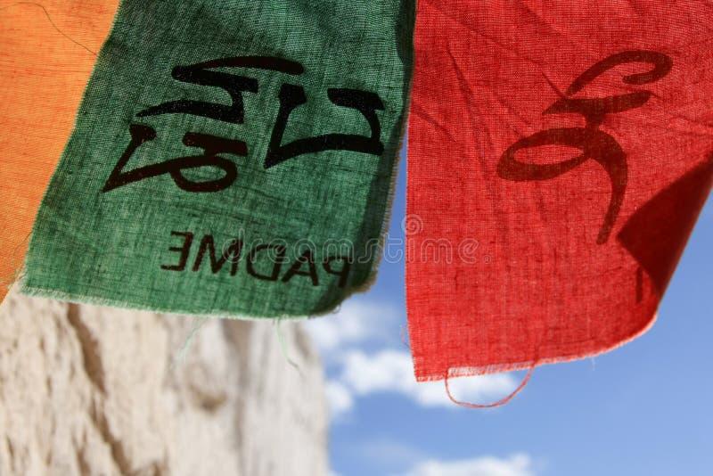 绿色和红色祷告旗子,拉达克,印度 免版税库存照片