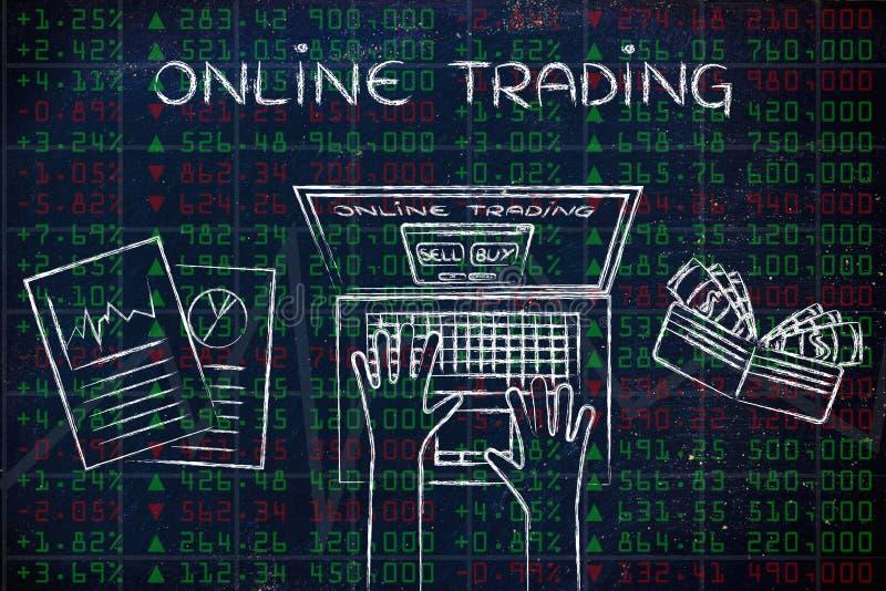 绿色和红色股市数据的计算机用户,与文本Onli 库存例证