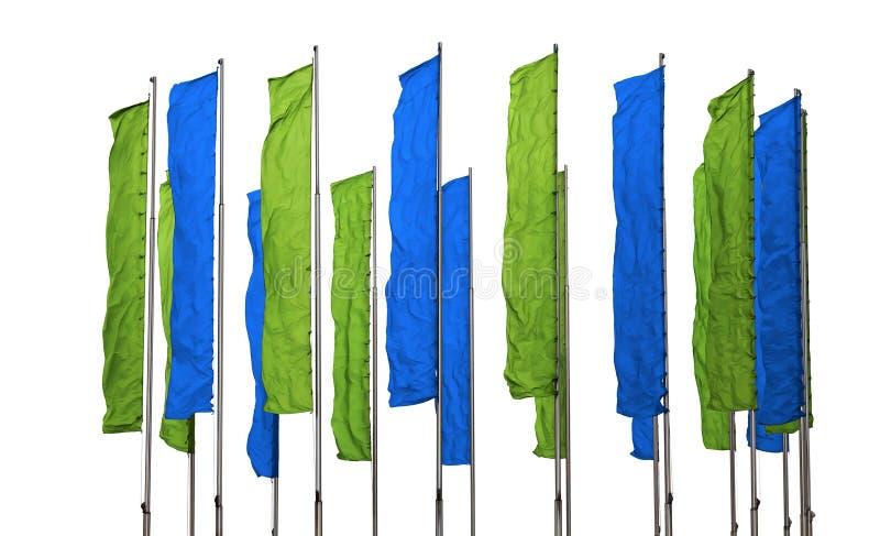 绿色和蓝旗信号 免版税库存图片
