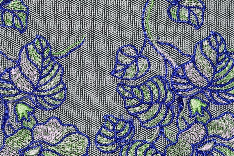 绿色和蓝色鞋带纹理材料的宏观射击 免版税库存图片