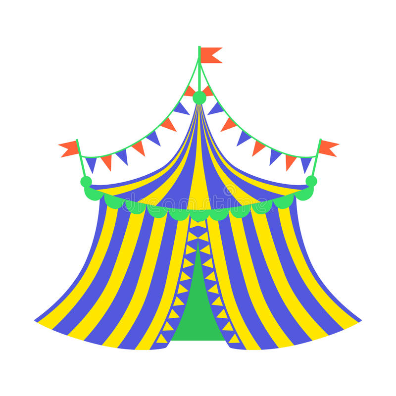 黄色和蓝色马戏场帐篷、一部分的游乐园和平的动画片例证公平的系列  皇族释放例证