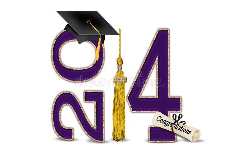 紫色和金子2014年毕业 皇族释放例证