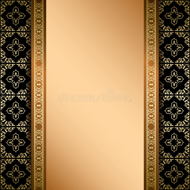 黑色和金装饰品在背景与梯度 向量例证