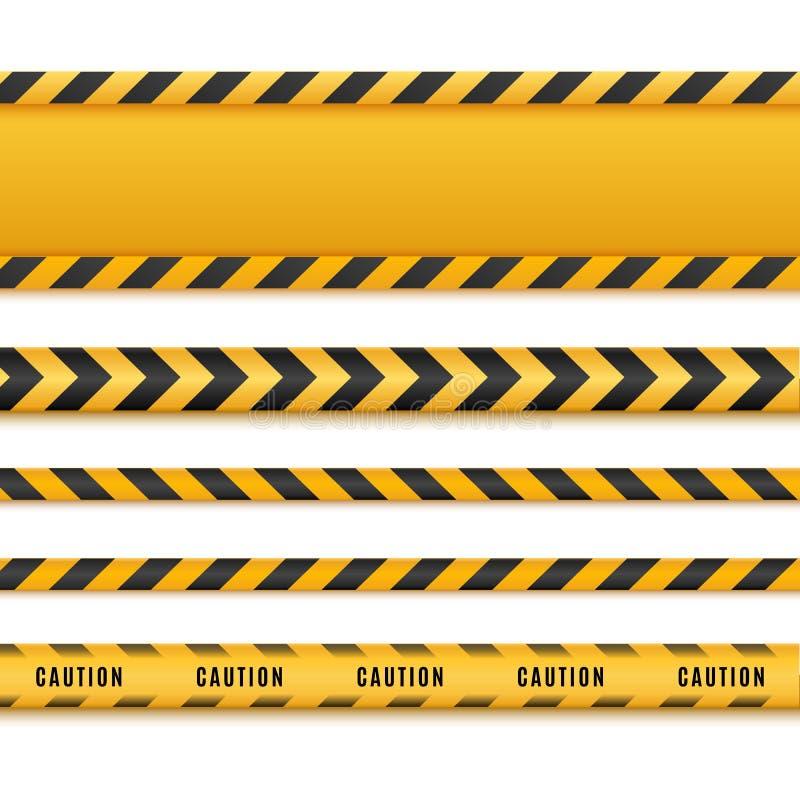 黄色和黑危险磁带 被隔绝的小心线 也corel凹道例证向量 库存例证