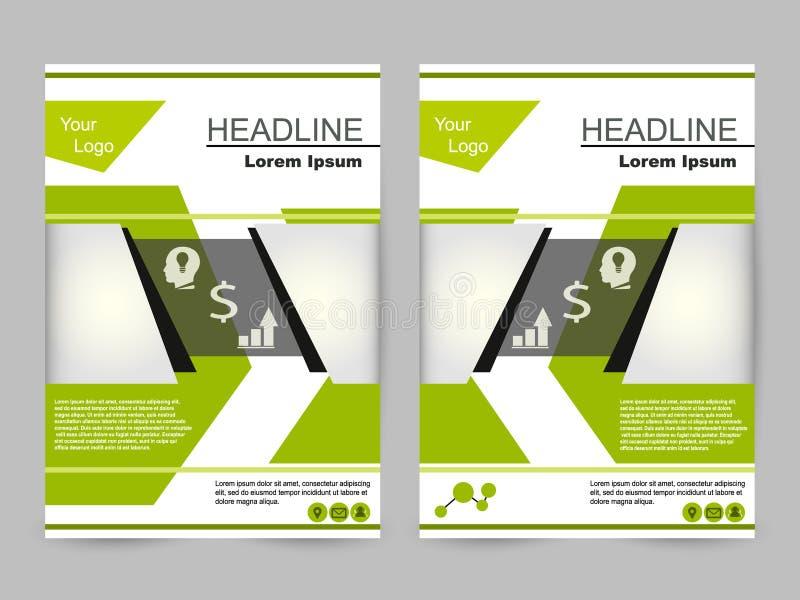 绿色和黑小册子设计 免版税库存照片