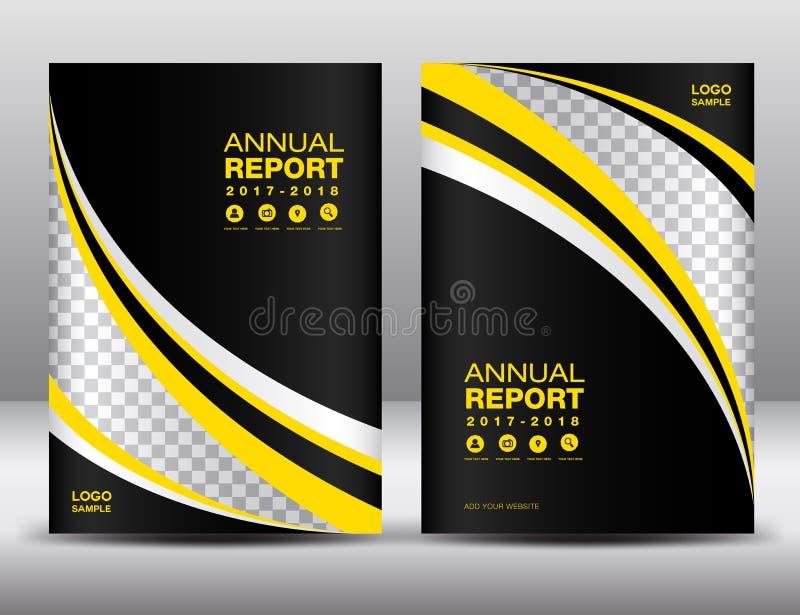 黄色和黑盖子模板,包括年终报告,盖子desi 向量例证