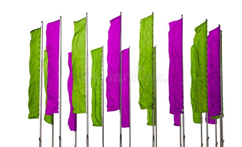 紫色和绿色旗子 图库摄影