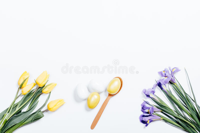 黄色和紫色花和被绘的复活节彩蛋在白色backg 图库摄影