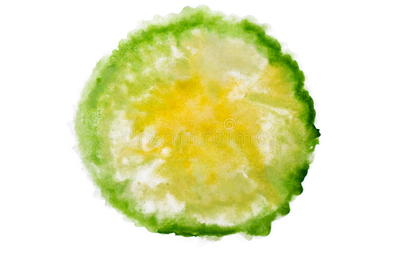 绿色和黄色水彩摘要 免版税库存图片
