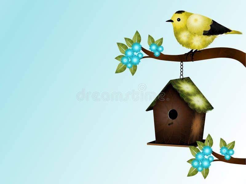 黄色和黑鸟和鸟舍背景 库存例证