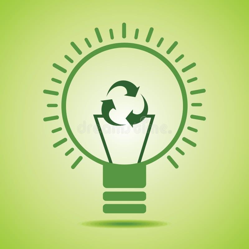 绿色回收象做细丝eco电灯泡 向量例证