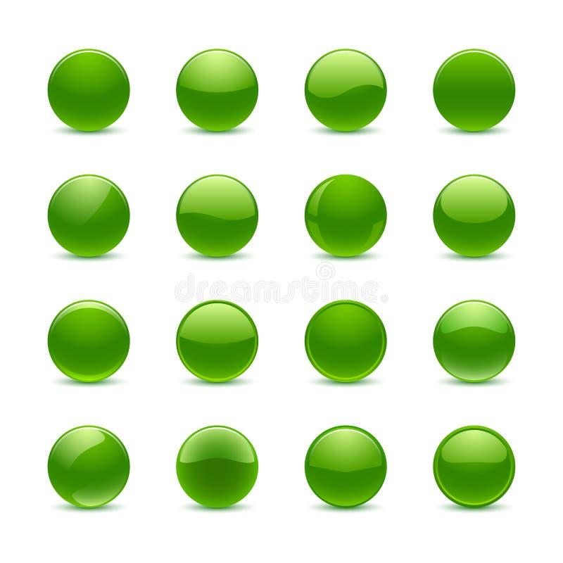 绿色圆的按钮 库存例证