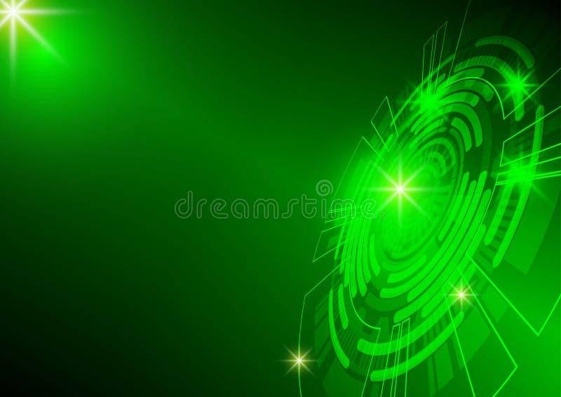 绿色圈子和光技术背景,抽象数字式概念 皇族释放例证