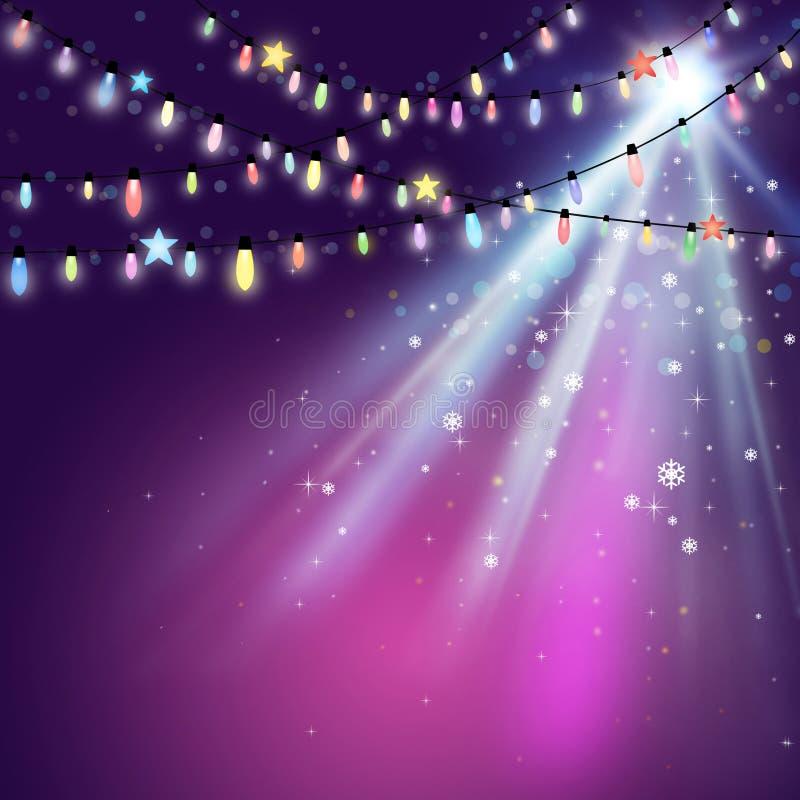紫色圣诞灯背景 皇族释放例证