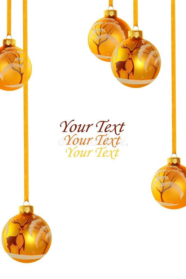 黄色圣诞节球 免版税库存照片