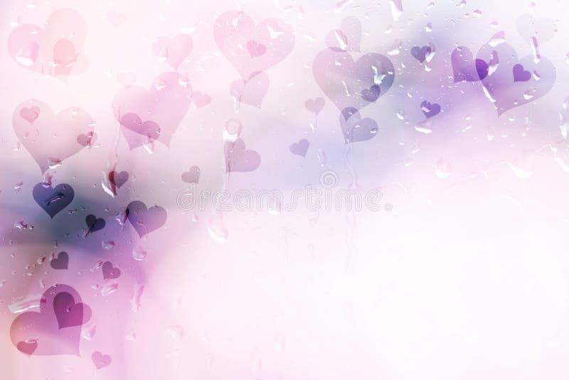 紫色在小滴窗口背景的色的心脏 向量例证