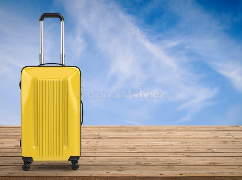 黄色坚硬案件行李 免版税库存图片