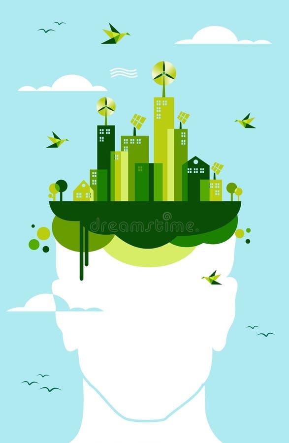 绿色城市居民想法 库存例证