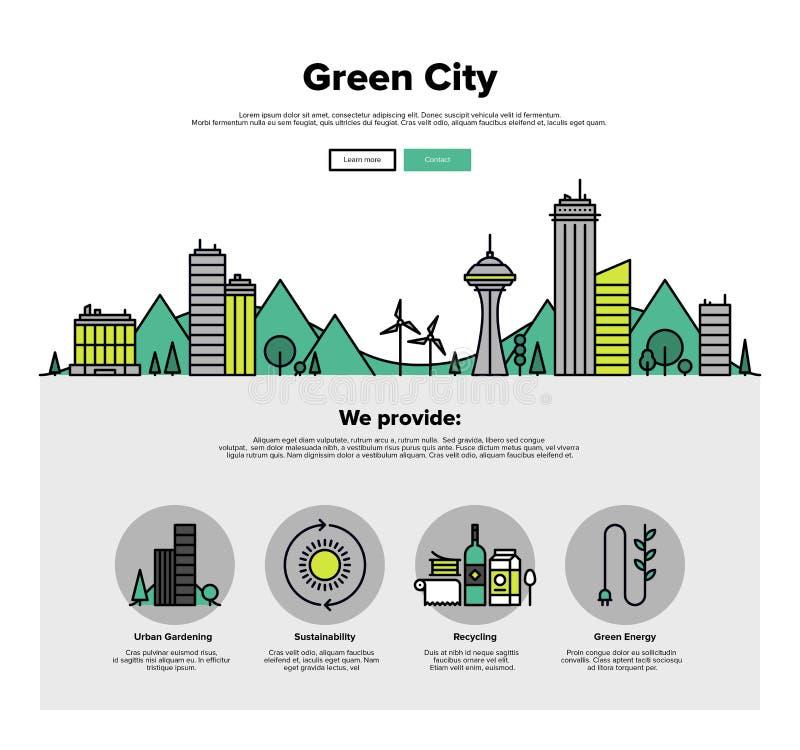 绿色城市平的线网图表 皇族释放例证