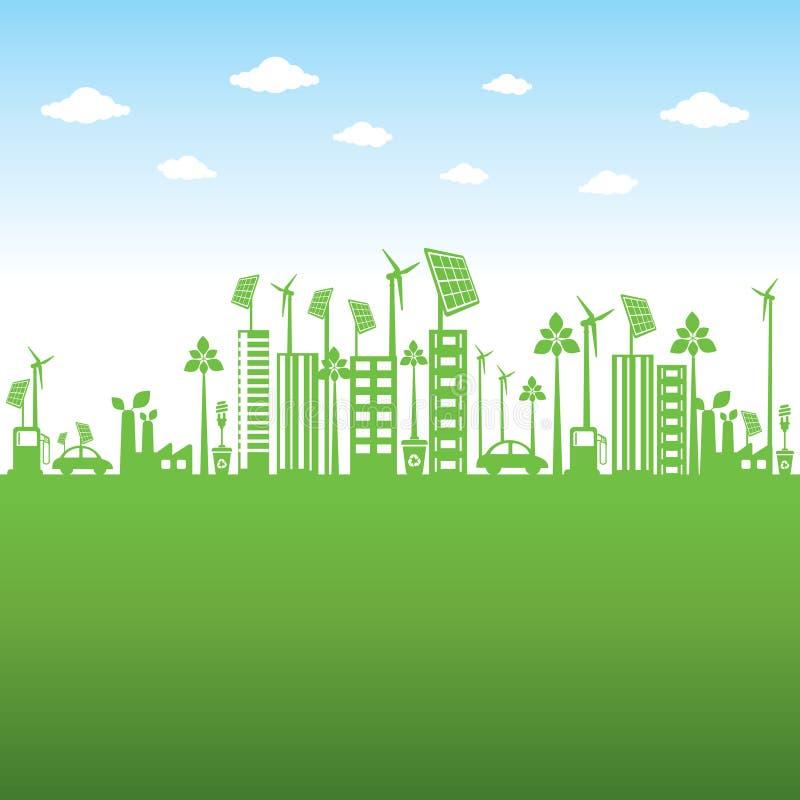 绿色城市或去绿色或保存地球概念 库存例证