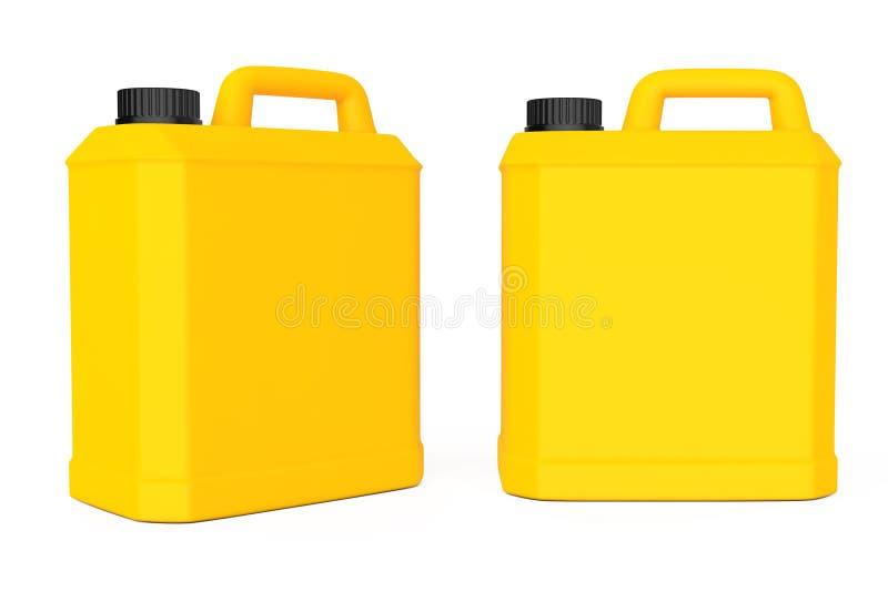 黄色塑料空白的容器 3d翻译 向量例证
