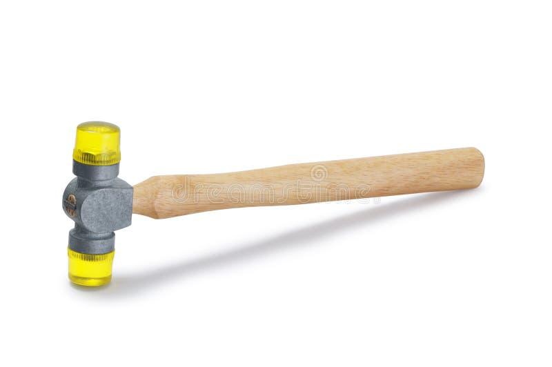 黄色塑料软的面孔短槌锤子 库存图片