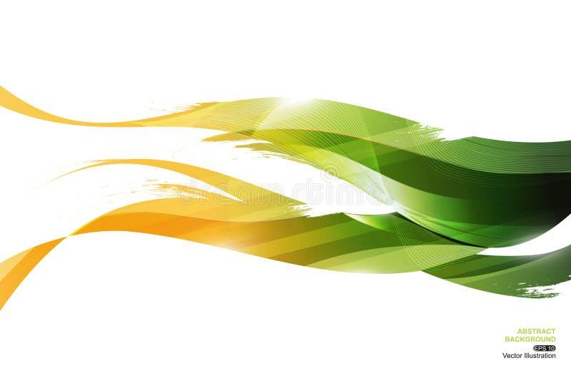 黄绿色墨水条纹波浪摘要背景,概念叶子,传染媒介例证 皇族释放例证