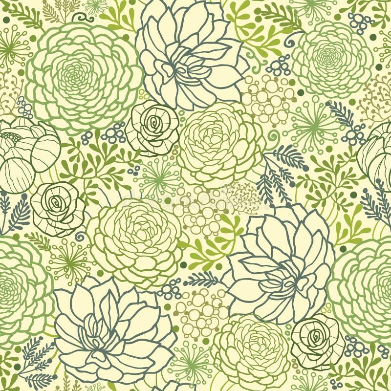 绿色多汁植物种植无缝的样式背景 图库摄影
