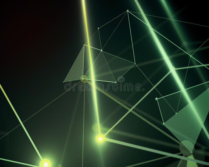 绿色多角形背景,技术 皇族释放例证