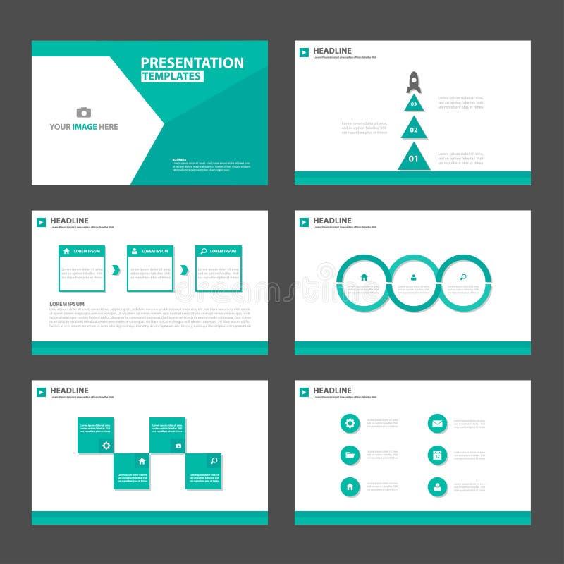 绿色多角形介绍模板Infographic元素和象平的设计集合广告营销小册子flye 库存例证