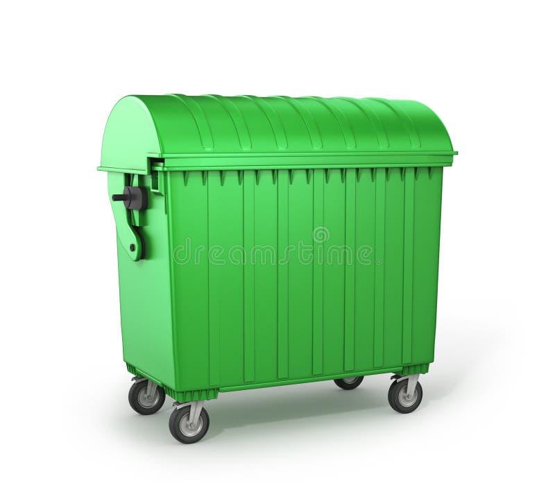 绿色大型垃圾桶 库存例证