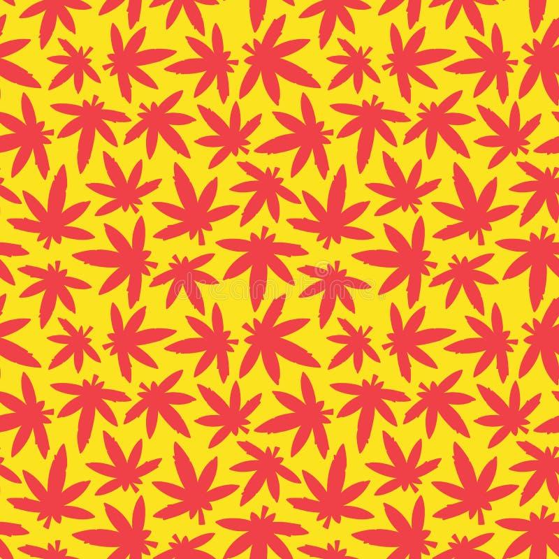 黄色大麻ganja杂草无缝的传染媒介的样式红色和 库存例证