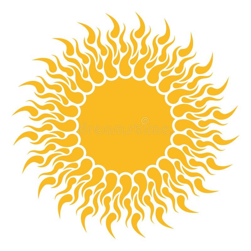 黄色太阳形状 库存例证