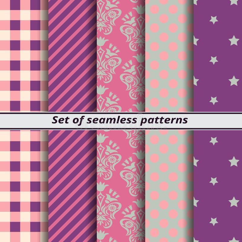 紫色套无缝的样式 皇族释放例证