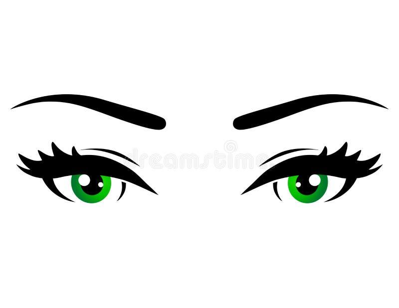 绿色妇女眼睛 向量例证