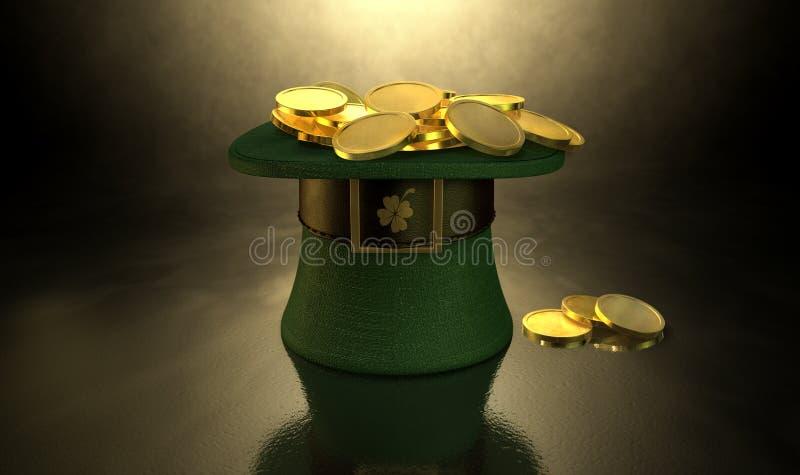绿色妖精帽子充满金币 向量例证