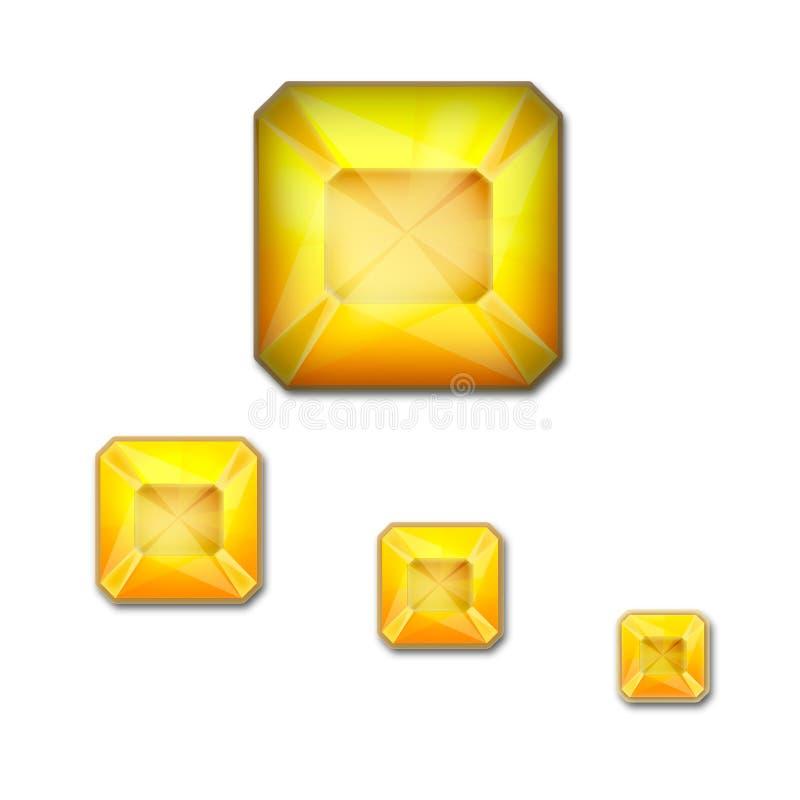 黄色宝石标志 在一个平的样式的金刚石例证 雕琢平面的宝石 库存例证