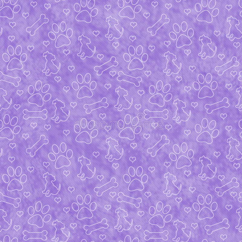 紫色小狗瓦片样式重复背景 免版税库存图片