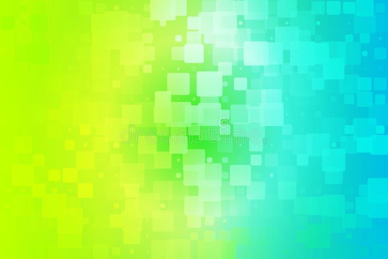 黄色小野鸭蓝绿色遮蔽发光的各种各样的瓦片背景 皇族释放例证