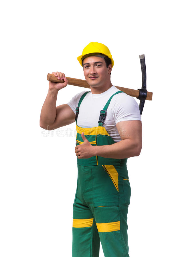 Download 绿色工作服的人有在白色隔绝的轴的 库存图片. 图片 包括有 所有, 上升, 帽子, 承包商, 维修服务, 背包 - 72364389