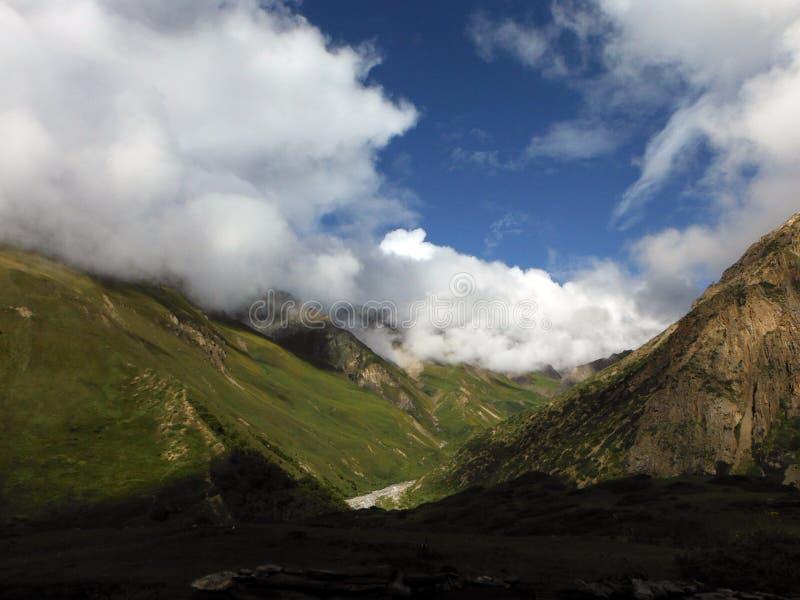 绿色干燥高喜马拉雅谷 免版税库存图片