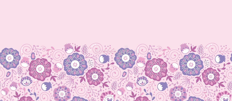 紫色开花开花水平的无缝的样式 向量例证