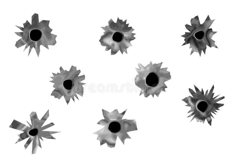 黑色弹孔纸张被撕毁的白色 向量例证