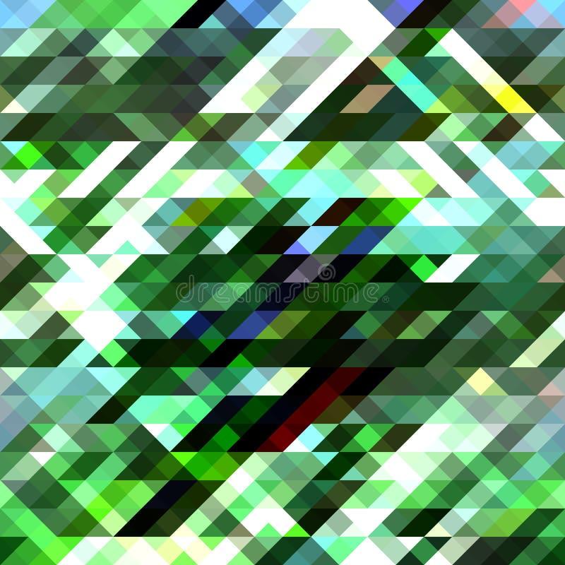 绿色彩色玻璃几何样式 抽象背景 水平地无缝 向量例证